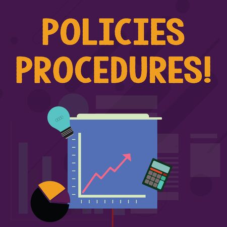 Word writing text Policies Procedures. Business photo showcasing Influence Major Decisions and Actions Rules Guidelines Investment Icons of Pie and Line Chart with Arrow Going Up Bulb Calculator
