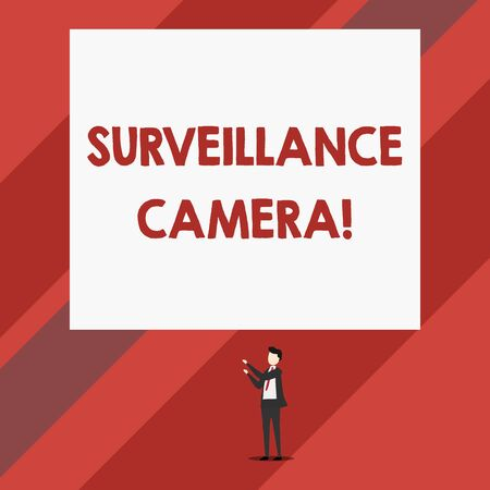 Writing note showing Surveillance Camera. Business concept for Closed Circuit Television transmit signal on monitors Isolated view man standing pointing upwards two hands big rectangle Standard-Bild - 124491497