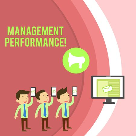 Conceptual hand writing showing Management Perforanalysisce. Concept meaning feedback on Managerial Skills and Competencies SMS Email Marketing Media Audience Attraction PC Loudspeaker