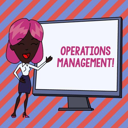 Conceptual hand writing showing Operations Management. Concept meaning ensure Inputs to Output the Production and Provision White Female in Standing Pointing Whiteboard Presentation