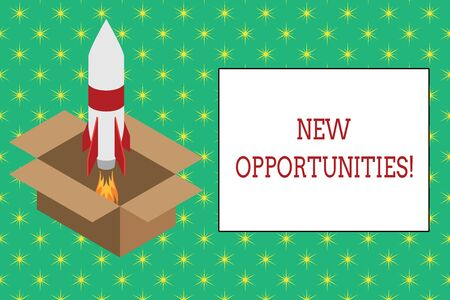 Word writing text New Opportunities. Business photo showcasing exchange views condition favorable for attainment goal Fire launching rocket carton box. Starting up project. Fuel inspiration