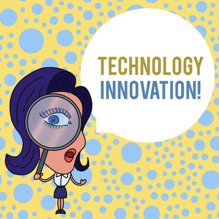 Word writing text Technology Innovation. Business photo showcasing advanced net connected devices a Creative Technique Woman Looking Trough Magnifying Glass Big Eye Blank Round Speech Bubble