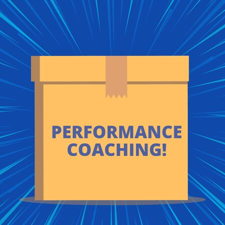 Writing note showing Perforanalysisce Coaching. Business concept for Facilitate the Development Point out the Good and Bad Close up front view brown cardboard sealed box lid. Blank background