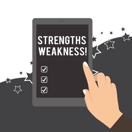 Handschrift Text Stärken Schwäche. Konzeptionelle Foto Gelegenheit und Bedrohungsanalyse Positive und Negative weibliche Hand mit weißen polierten Nägeln mit Finger Tablet Bildschirm aus Standard-Bild