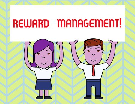 Writing note showing Reward Perforanalysisce. Business concept for Appraisal Recognize workers Relative Worth to the company Two Smiling People Holding Poster Board Overhead with Hands