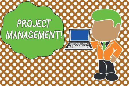 Conceptual hand writing showing Project Management. Concept meaning Application Process Skills to Achieve Objectives and Goal Standing businessman holding open laptop right hand side