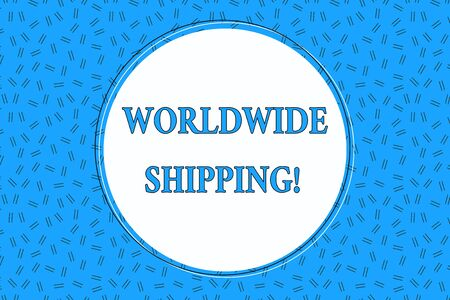 Word writing text Worldwide Shipping. Business photo showcasing Sea Freight Delivery of Goods International Shipment Empty Round Circular Copy Space Text Balloon against Dashed Background Stock fotó