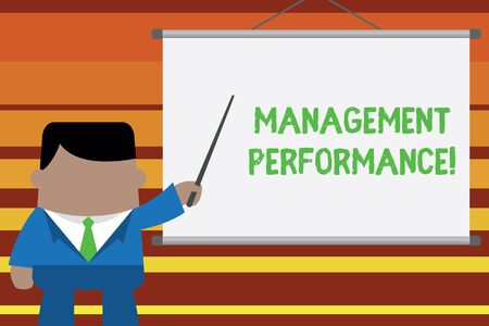 Word writing text Management Perforanalysisce. Business photo showcasing feedback on Managerial Skills and Competencies Businessman standing in front projector screen pointing project idea Stock Photo