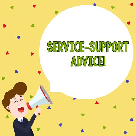 Word writing text Service Support Advice. Business photo showcasing providing help to others in verbal or action way Young Man Shouting into Megaphone Floating Round Shape Empty Speech Bubble Archivio Fotografico