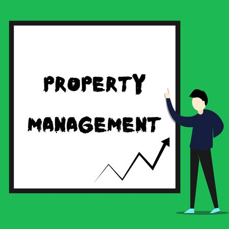 Writing note showing Property Management. Business concept for Overseeing of Real Estate Preserved value of Facility Young man standing pointing up rectangle Geometric background Stock Photo