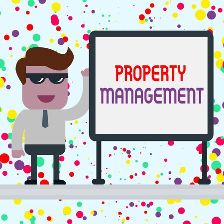 Conceptual hand writing showing Property Management. Concept meaning Overseeing of Real Estate Preserved value of Facility Office Worker Sunglass Blank Whiteboard Meeting Presentation Stock Photo