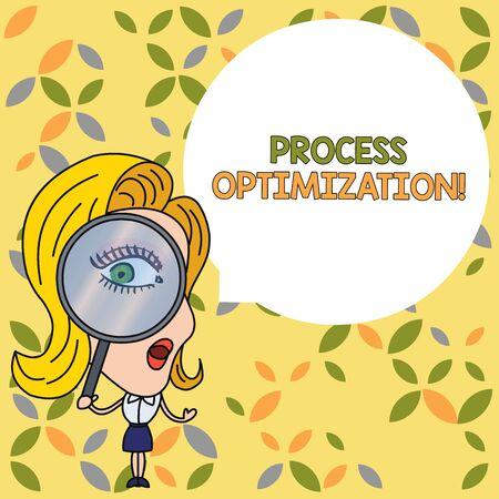 Handwriting text Process Optimization. Conceptual photo Improve Organizations Efficiency Maximize Throughput Woman Looking Trough Magnifying Glass Big Eye Blank Round Speech Bubble