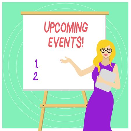Handwriting text Upcoming Events. Conceptual photo thing that will happens or takes place soon planned occasion White Female in Glasses Standing by Blank Whiteboard on Stand Presentation