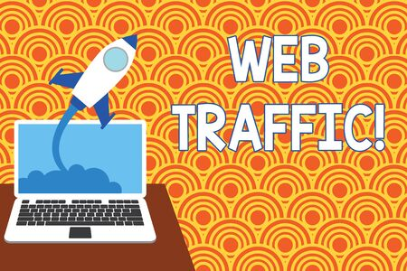Text sign showing Web Traffic. Business photo showcasing amount of data sent and received by visitors to website Successful rocket launching clouds out laptop background. Startup growing
