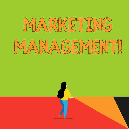 Word writing text Marketing Management. Business photo showcasing Develop Advertise Promote a new Product or Service Back view young long hair woman holding big blank square announcement