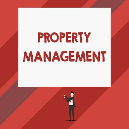 Writing note showing Property Management. Business concept for Overseeing of Real Estate Preserved value of Facility Isolated view man standing pointing upwards two hands big rectangle