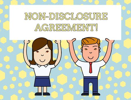 Word writing text Non Disclosure Agreement. Business photo showcasing Legal Contract Confidential Material or Information Two Smiling People Holding Big Blank Poster Board Overhead with Both Hands