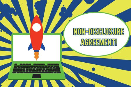 Text sign showing Non Disclosure Agreement. Business photo showcasing Legal Contract Confidential Material or Information Launching rocket up laptop . Startup project. Developing goal objectives