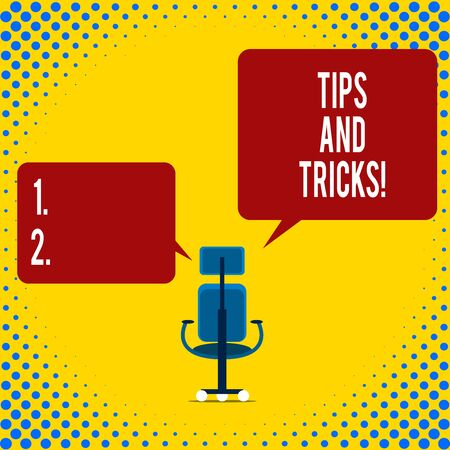 Writing note showing Tips And Tricks. Business concept for means piece advice maybe suggestion how improve Executive chair sharing two blank square speech bubbles right left side