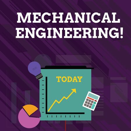 Conceptual hand writing showing Mechanical Engineering. Concept meaning deals with Design Manufacture Use of Machines Investment Icons of Pie and Line Chart with Arrow Going Up