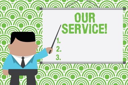 Text sign showing Our Service. Business photo text announcing as repair or provide maintenance for product Businessman standing in front projector screen pointing project idea