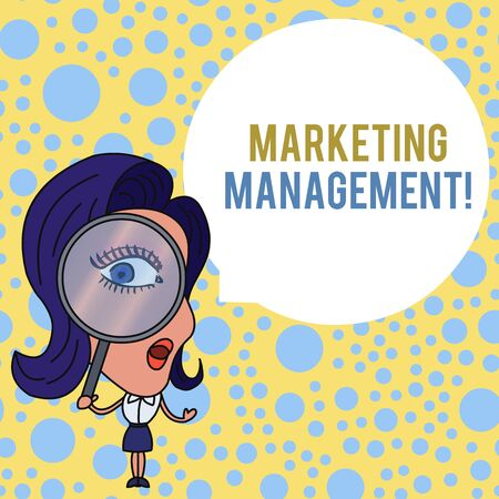 Word writing text Marketing Management. Business photo showcasing Develop Advertise Promote a new Product or Service Woman Looking Trough Magnifying Glass Big Eye Blank Round Speech Bubble
