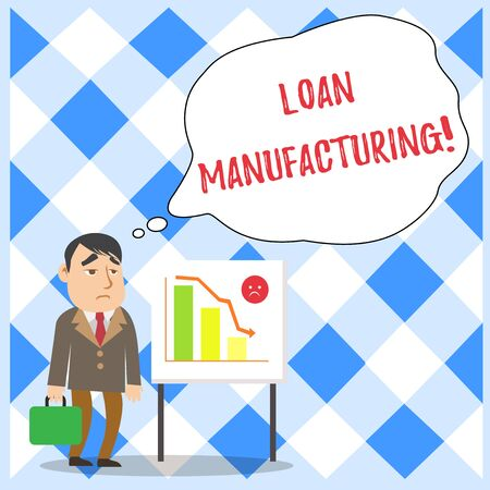 Word writing text Loan Manufacturing. Business photo showcasing Bank Process to check Eligibility of the Borrower Businessman Clerk with Brief Case Standing Whiteboard Declining Bar Chart