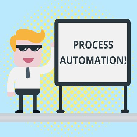 Text sign showing Process Automation. Business photo showcasing Transformation Streamlined Robotic To avoid Redundancy Businessman Office Worker Sunglasses Blank Whiteboard Meeting Presentation Stock Photo