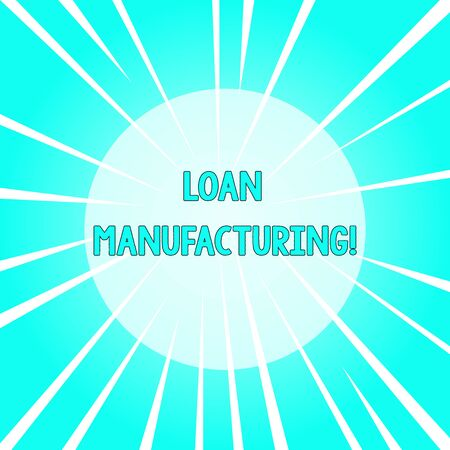 Text sign showing Loan Manufacturing. Business photo text Bank Process to check Eligibility of the Borrower Sunburst Explosion Different Size White Beams Halftone Center Perspective