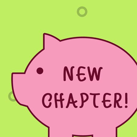Handwriting text writing New Chapter. Conceptual photo Starting ultimately something goals created in your mind Fat huge pink pig plump like piggy bank with sharp ear and small round eye Stok Fotoğraf