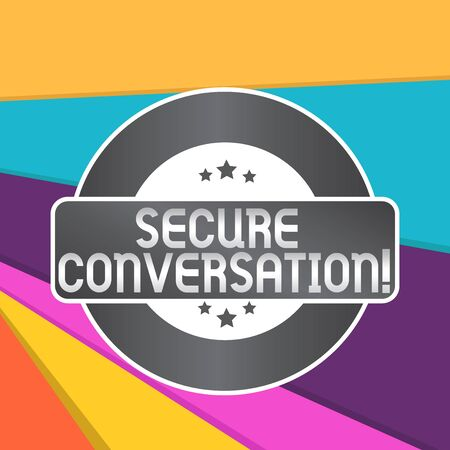 Word writing text Secure Conversation. Business photo showcasing Secured Encrypted Communication between Web Services Colored Round Shape Label Badge Stars Blank Rectangular Text Box Award Stok Fotoğraf