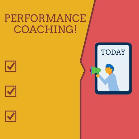 Writing note showing Perforanalysisce Coaching. Business concept for Facilitate the Development Point out the Good and Bad Geometrical background man chest holding megaphone speech bubble Stok Fotoğraf