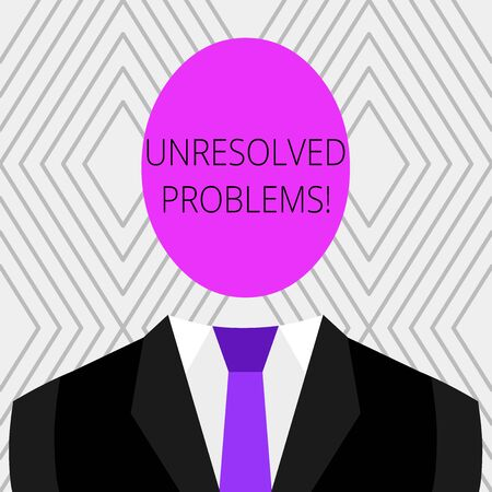 Handwriting text Unresolved Problems. Conceptual photo those Queries no one can answer Unanswerable Questions Symbolic Drawing Emblematic Figure of Man Formal Suit Oval Faceless Head