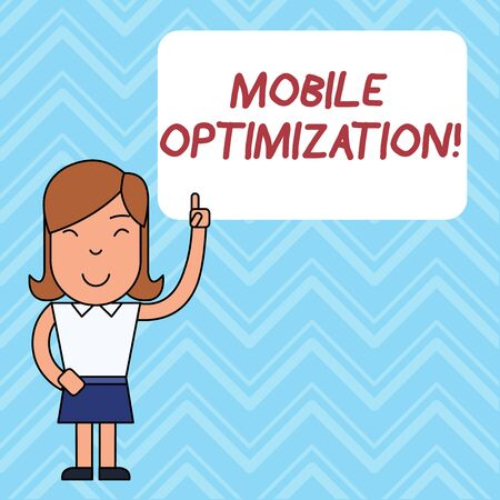 Word writing text Mobile Optimization. Business photo showcasing Site Content Reformatted for Handheld or Tablet Devices Woman Standing with Raised Left Index Finger Pointing at Blank Text Box 스톡 콘텐츠