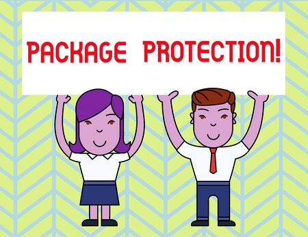 Writing note showing Package Protection. Business concept for Wrapping and Securing items to avoid damage Labeled Box Two Smiling People Holding Poster Board Overhead with Hands