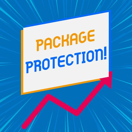 Handwriting text writing Package Protection. Conceptual photo Wrapping and Securing items to avoid damage Labeled Box One blank rectangle above another arrow zigzag upwards increasing sale Imagens