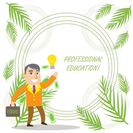 Conceptual hand writing showing Professional Education. Concept meaning Continuing Education Units Specialized Training Successful Businessman Generating Idea or Finding Solution