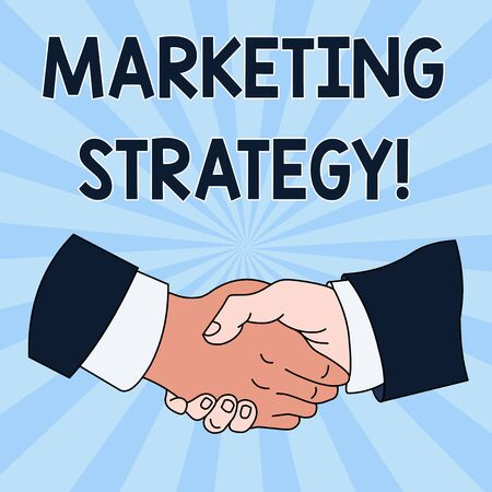 Conceptual hand writing showing Marketing Strategy. Concept meaning Scheme on How to Lay out Products Services Business Hand Shake Multiracial Male Colleagues Formal Shirt Suit Imagens - 124554002