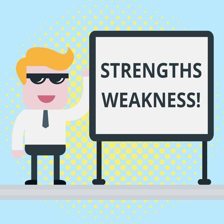 Text sign showing Strengths Weakness. Business photo showcasing Opportunity and Threat Analysis Positive and Negative Businessman Office Worker Sunglasses Blank Whiteboard Meeting Presentation