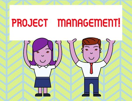 Writing note showing Project Management. Business concept for Application Process Skills to Achieve Objectives and Goal Two Smiling People Holding Poster Board Overhead with Hands Stockfoto
