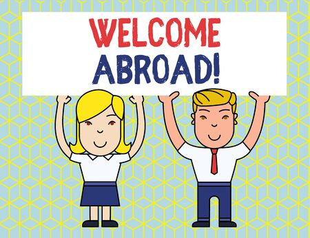 Handwriting text Welcome Abroad. Conceptual photo something that you say when someone gets on ship Two Smiling People Holding Big Blank Poster Board Overhead with Both Hands Stock Photo