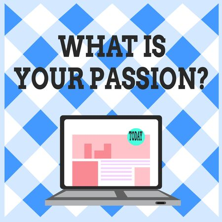Word writing text What Is Your Passion Question. Business photo showcasing asking about his strong and barely controllable emotion Open Modern Laptop Switched On with Website Homepage on Screen Web Search