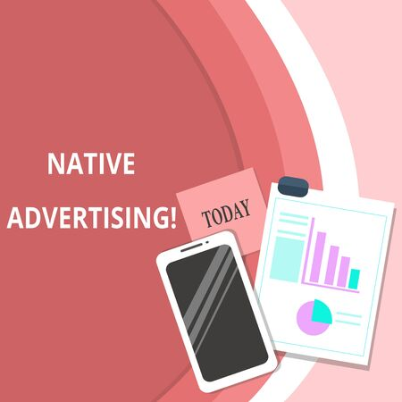 Handwriting text Native Advertising. Conceptual photo Online Paid Ads Match the Form Function of Webpage Layout Smartphone Off Sticky Notes Clipboard with Pie Chart and Bar Graph