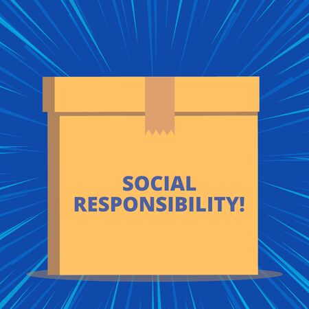 Writing note showing Social Responsibility. Business concept for Obligation for the Benefit of Society Balance in life Close up front view brown cardboard sealed box lid. Blank background
