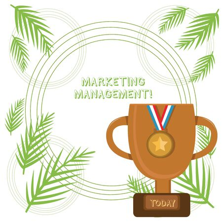 Conceptual hand writing showing Marketing Management. Concept meaning Develop Advertise Promote a new Product or Service Trophy Cup on Pedestal with Plaque Medal with Striped Ribbon Stock Photo