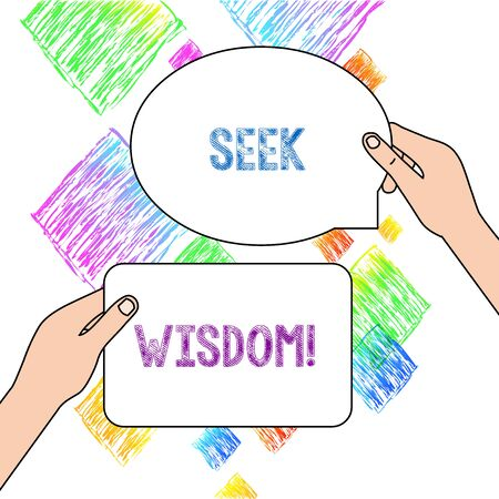Text sign showing Seek Wisdom. Business photo text ability to think act using knowledge experience understanding Two Blank Figured Tablets Signs Held in Hands One Above Other Text Space