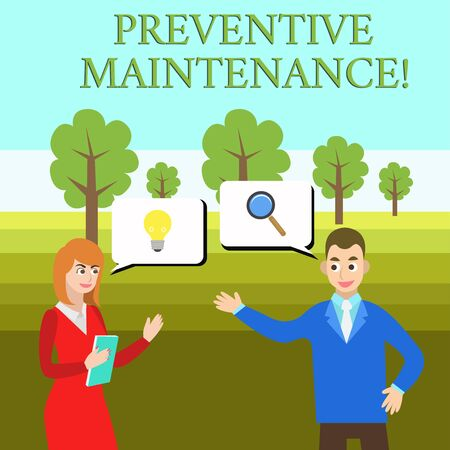 Word writing text Preventive Maintenance. Business photo showcasing Avoid Breakdown done while machine still working Business Partners Colleagues Jointly Seeking Problem Solution Generate Idea