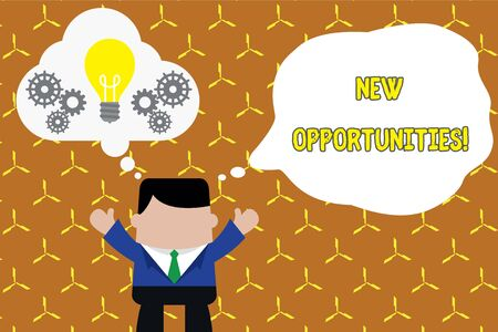 Text sign showing New Opportunities. Business photo showcasing exchange views condition favorable for attainment goal Standing man suit hands up imaginary bubble light bulb gears working together