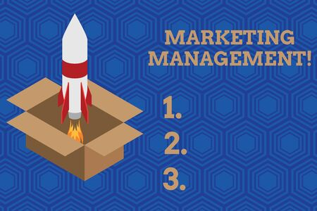 Handwriting text Marketing Management. Conceptual photo Develop Advertise Promote a new Product or Service Fire launching rocket carton box. Starting up project. Fuel inspiration