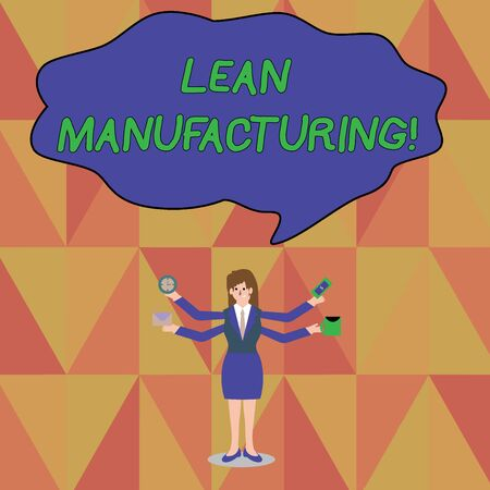Word writing text Lean Manufacturing. Business photo showcasing Waste Minimization without sacrificing productivity Businesswoman with Four Arms Extending Sideways Holding Workers Needed Item